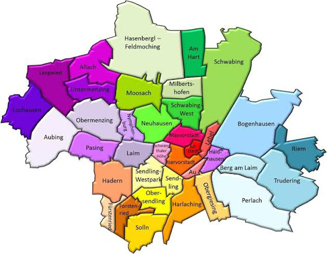 Mapa de regiões em Munique