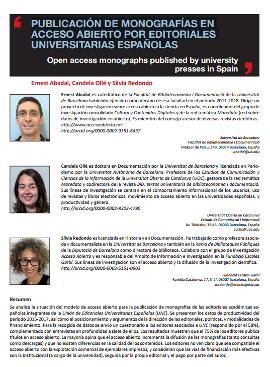 Publicación de monografías en acceso abierto por editoriales universitarias españolas