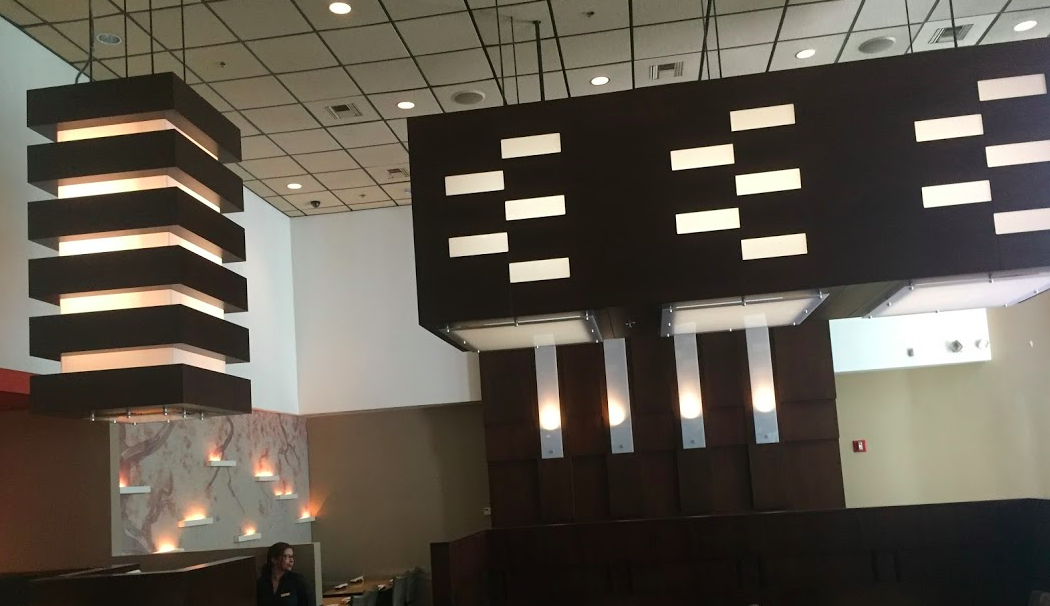 Decor and ceiling of Douzo Sushi in Boston, MA