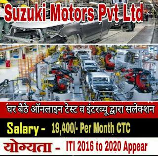 ITI Jobs In Suzuki Motors Gujarat Plant For Gujarat / Maharashtra / Rajasthan/MP Candidates ( घर बैठे ऑनलाइन टेस्ट व इंटरव्यू द्वारा सलेक्शन )