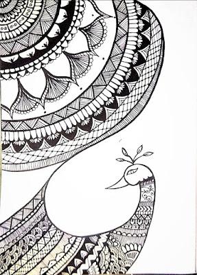 Mandala sketch, with black pen