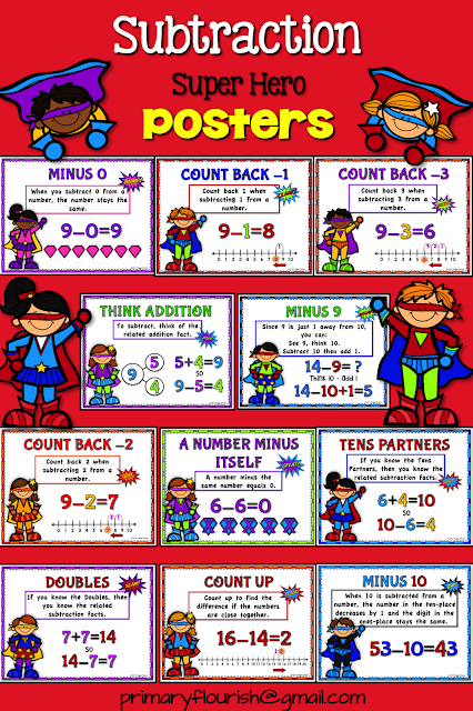 Subtraction mental math strategy posters