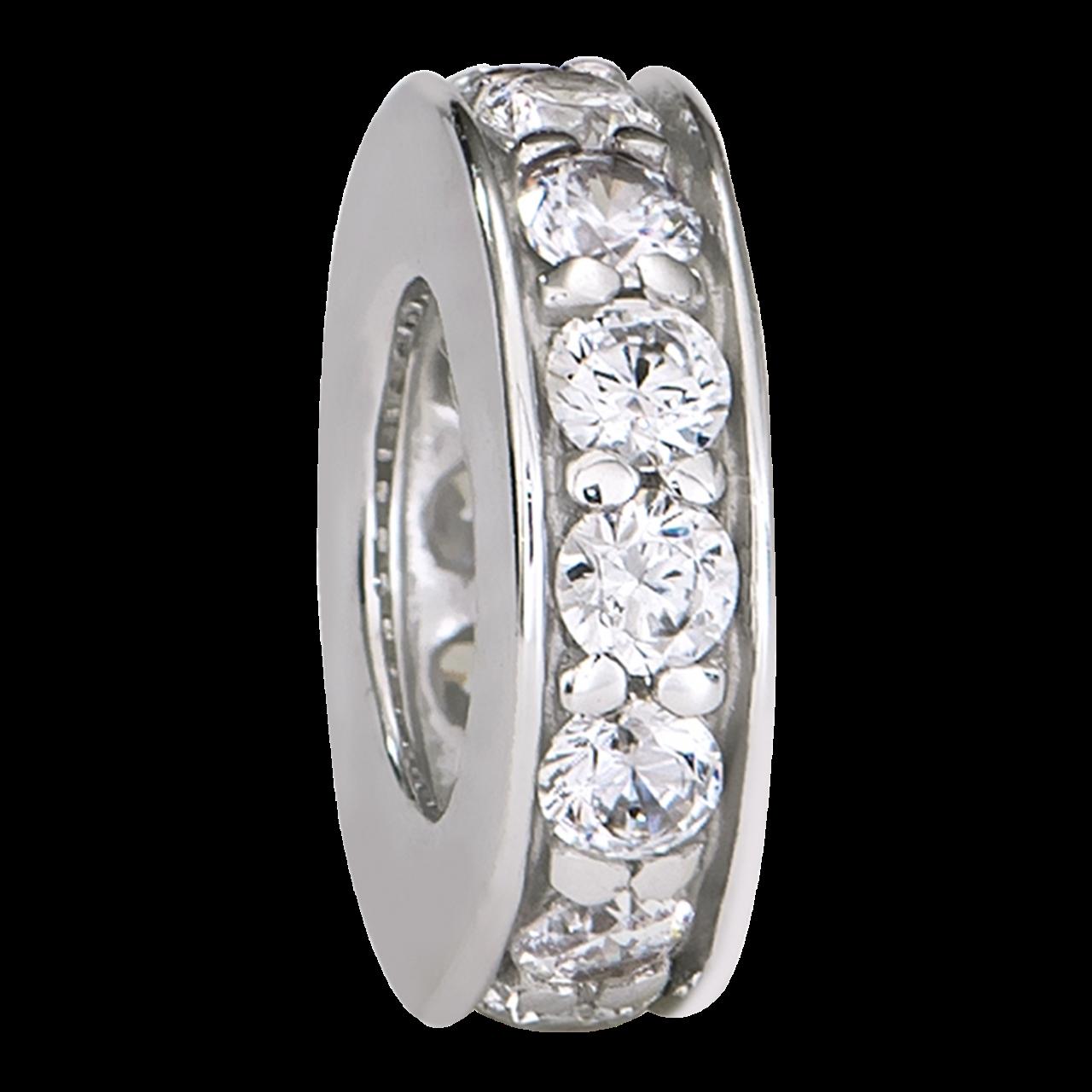 Hạt Charm Me Vàng trắng Ý 18K đính đá CZ PNJ hình tròn dẹt XM00W000029