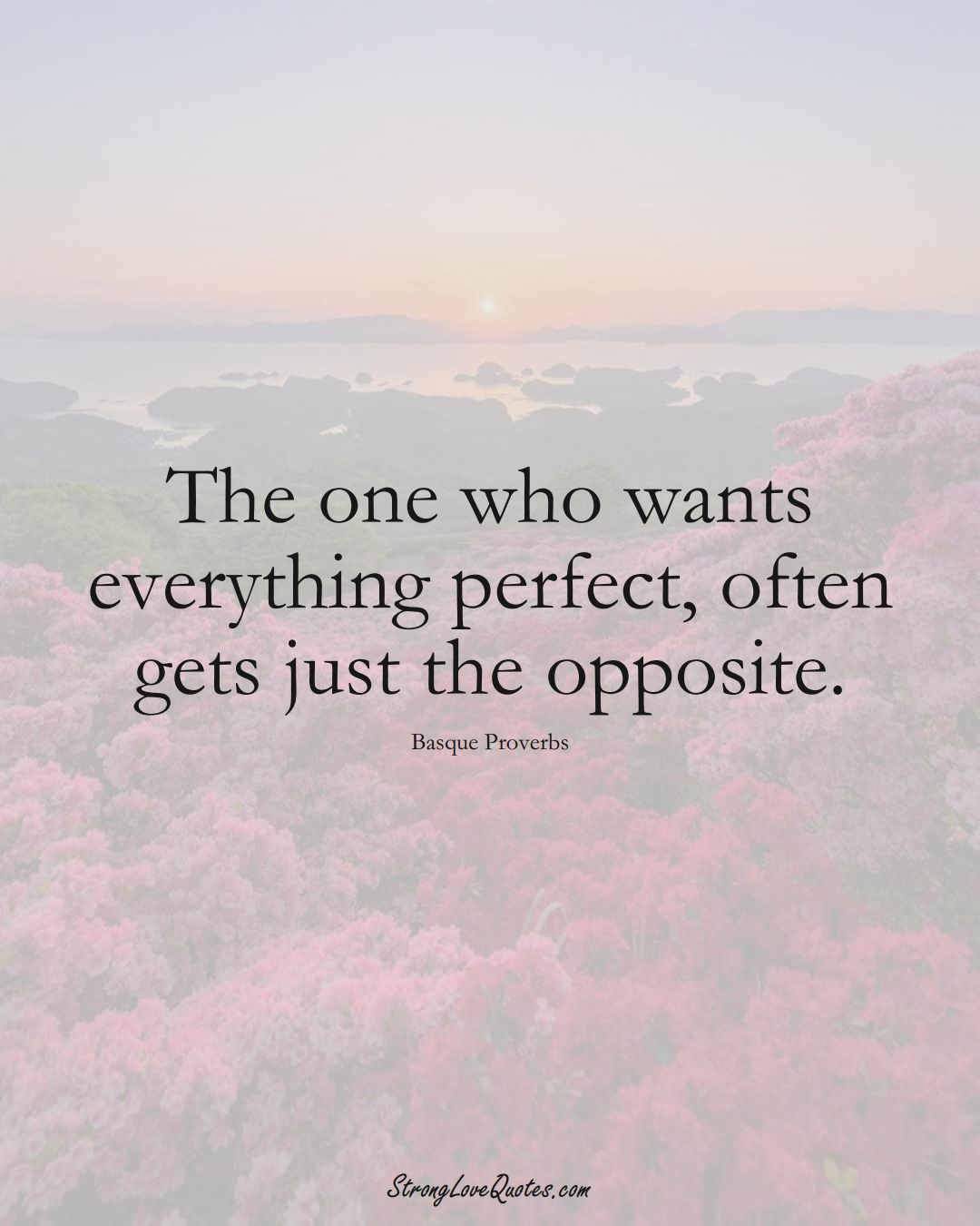 The one who wants everything perfect, often gets just the opposite. (Basque Sayings);  #EuropeanSayings