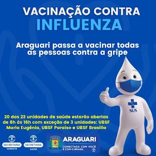 Araguari passa a vacinar todas as pessoas contra a gripe