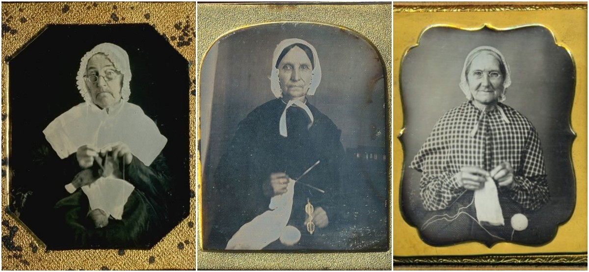 Some Daguerreotypes of Elderly Women Knitting in the 19th Century