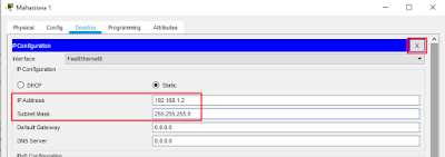 IP Address Mahasiswa 1 Cisco Packet Tracer