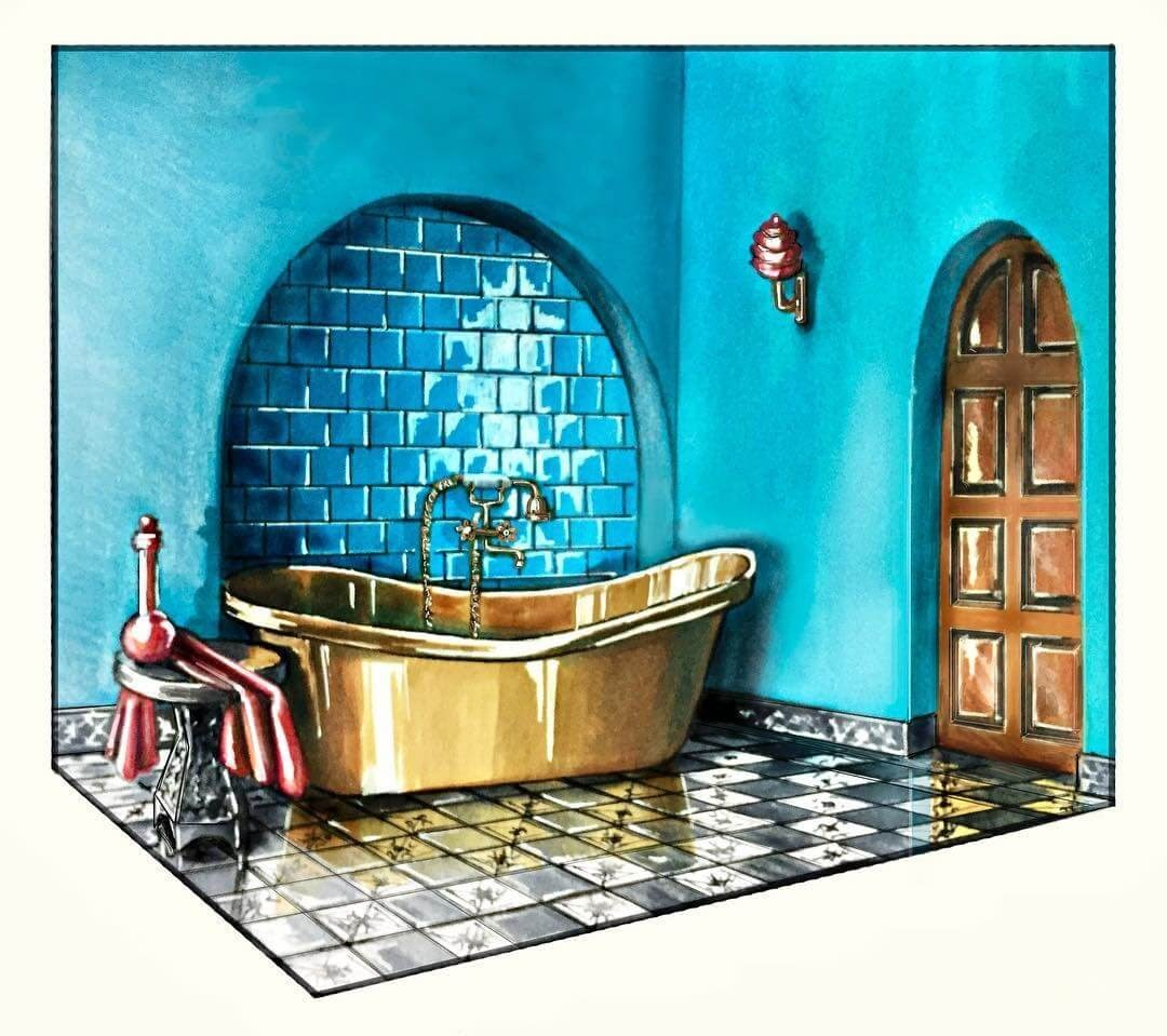 14-Blue-and-Copper-Bathroom-Julia-Timireeva-Юлия-Тимиреева-Interior-Design-Drawings-that-Help-Visualise-www-designstack-co