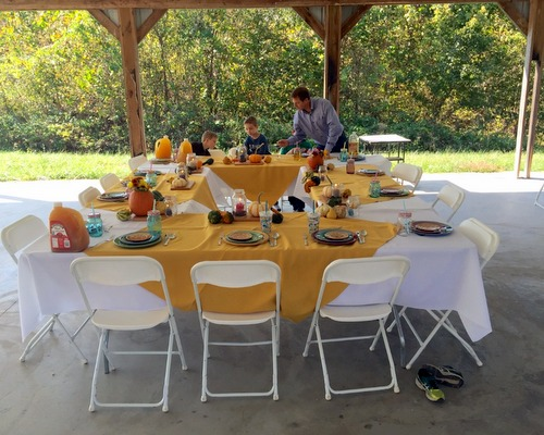 Our wedding in a meadow, the lunch afterward