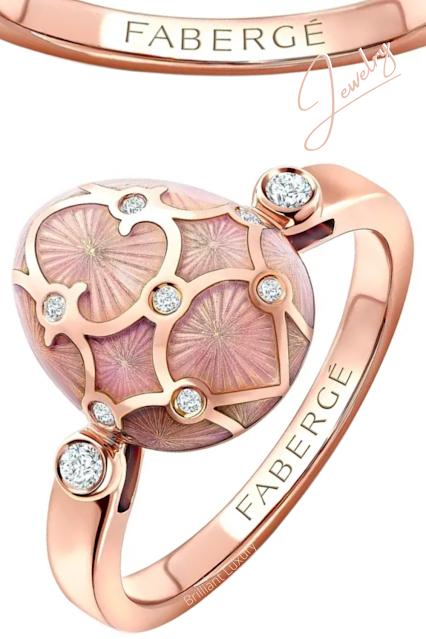 Fabergé Heritage rose gold diamond & pink guilloché enamel egg ring #brilliantluxury
