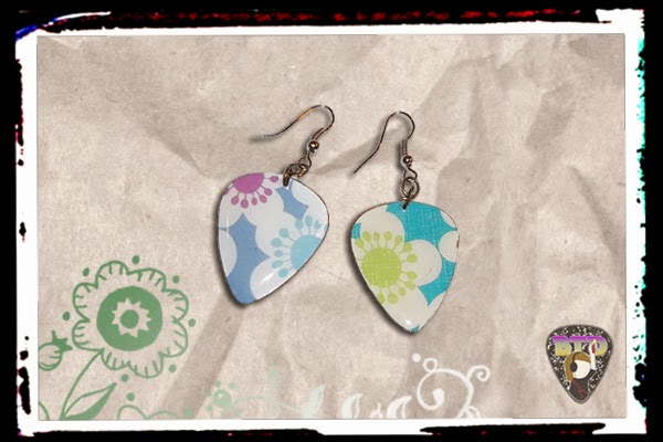 Colorful Flowers Guitar Pick Earrings