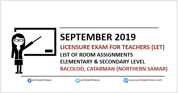 September 2019 LET Room Assignments: Bacolod, Catarman