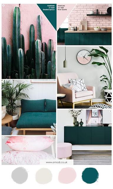 صور لتصاميم ديكورات حلوة باللون الوردي والأخضر الغامق خرافية جدا