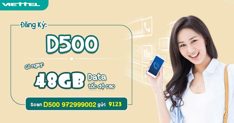 Gói cước 4G D500 Viettel