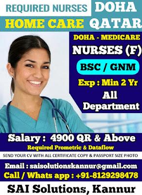 Urgently Required Home Care Nurses to Qatar - Doha Medicare - Doha