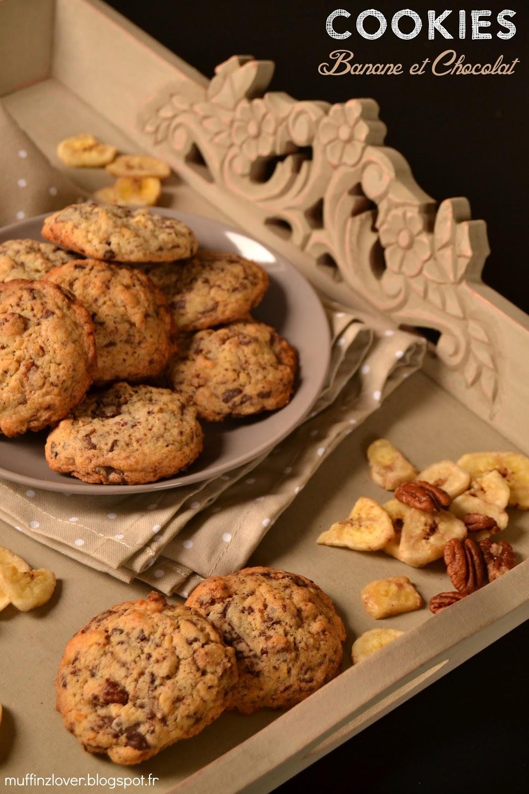Recette Cookies Banane et chocolat - muffinzlover.blogspot.fr