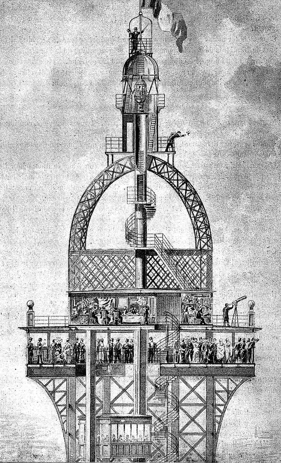 the top of the Eiffel tower 1900 Paris, an illustration
