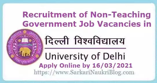 Delhi University Non-Teaching Recruitment 2021