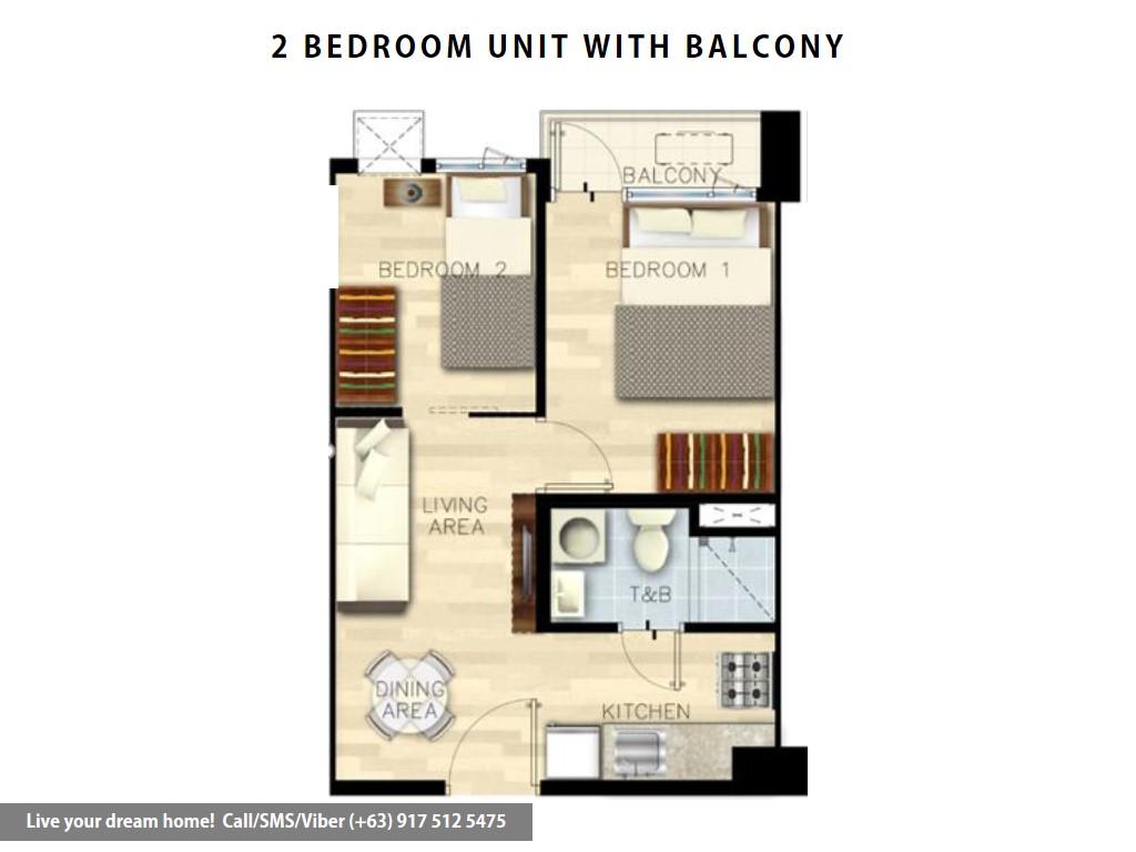 Floor Plan of SMDC Bloom Residences - 2 Bedroom With Balcony | Condominium for Sale Sucat Paranaque