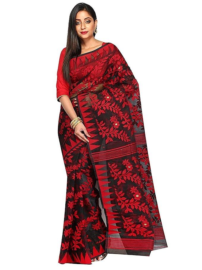 T.J. SAREES Handloom Silk Saree (Tj500046_Black_Free Size)