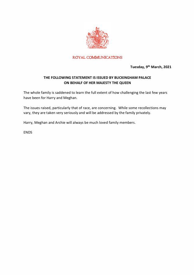Buckingham Palace response to Harry and Meghan Oprah Interview