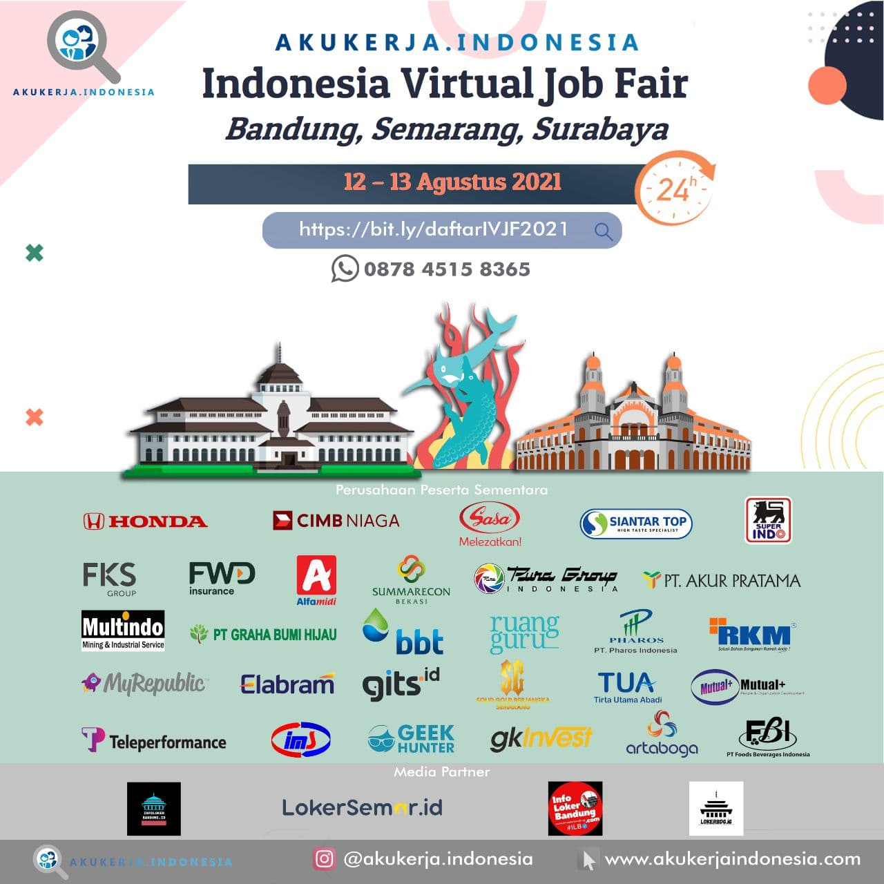 Indonesia Virtual Job Fair Aku Kerja Indonesia 12 - 13 Agustus 2021