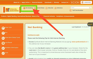 Syndicate bank net banking-Online account opening