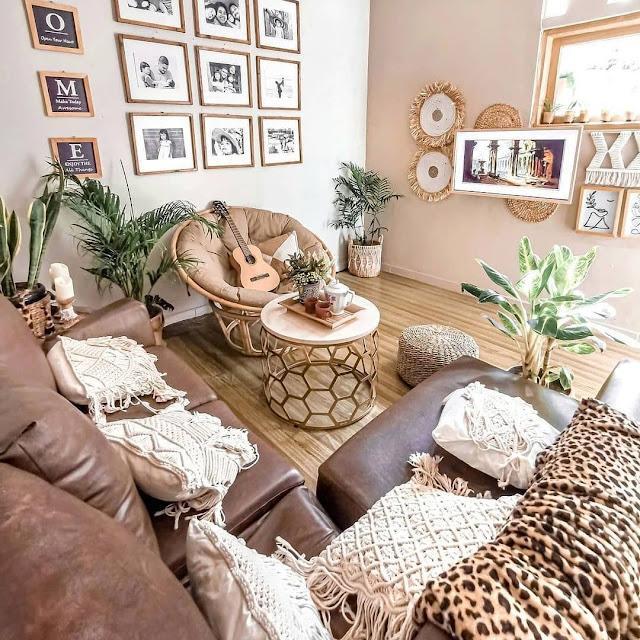 Desain Ruang Keluarga Minimalis Nuansa Coklat