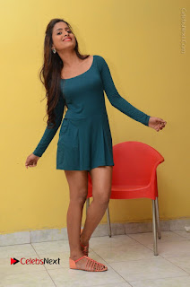 Telugu Actress Prasanthi Stills in Green Short Dress at Swachh Hyderabad Cricket Press Meet  0113.JPG