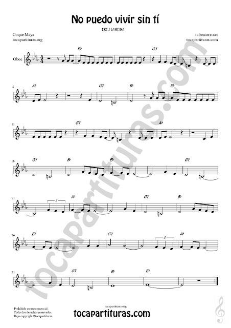Oboe Partitura de No puedo vivir sin tí Sheet Music for Oboe Music Score