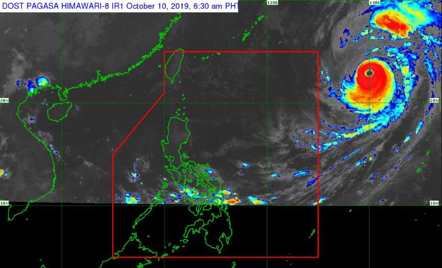 Satellite image of Typhoon Hagibis as of 6:30 am, October 10