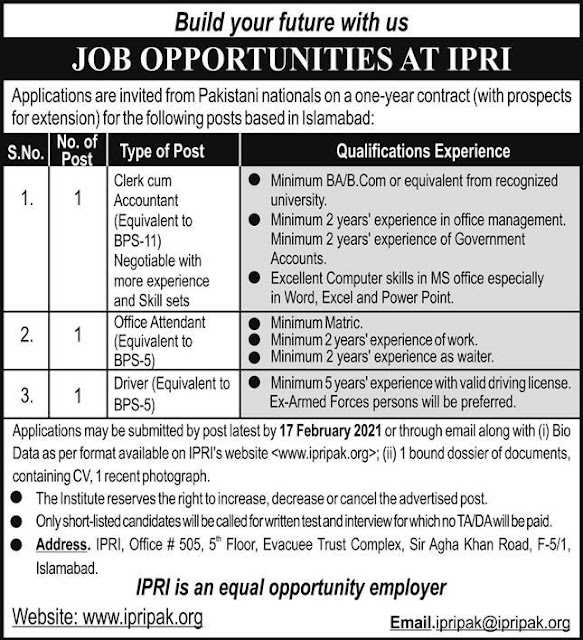 Clerk & Driver Jobs in Islamabad Policy Research Institute IPRI 2021