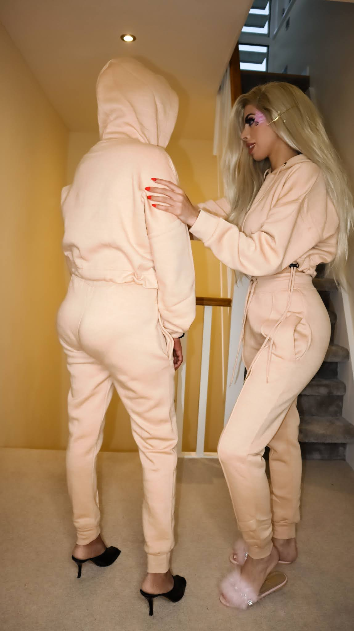 The Femme Luxe Stone Boxy Cropped Hoodie Cuffed Joggers Loungewear Set in model Cailleigh
