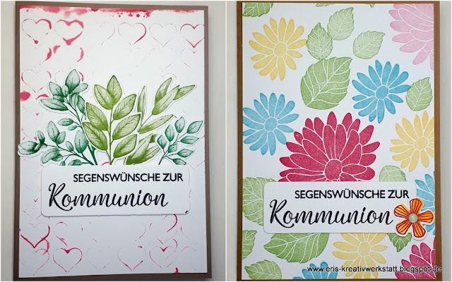 Kommunionkarten mit Blättern und Blumen Stampin' Up! www.eris-kreativwerkstatt.blogspot.de