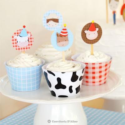 festa fazendinha topo topper wrapper saia cupcake