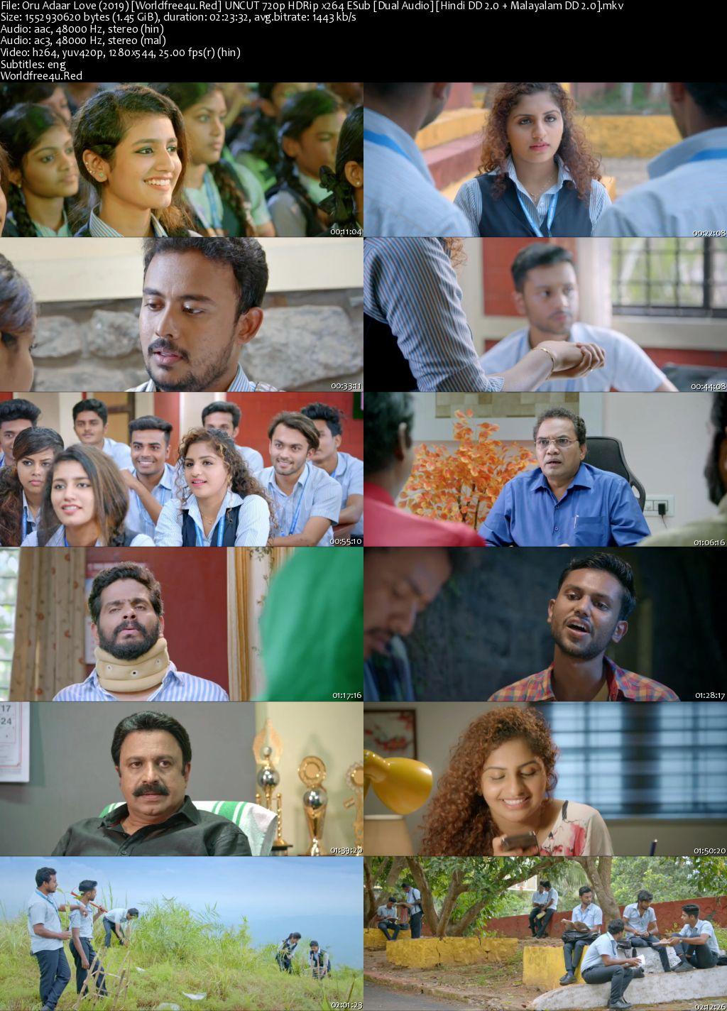 Oru Adaar Love 2019 Hindi Dubbed HDRip 720p