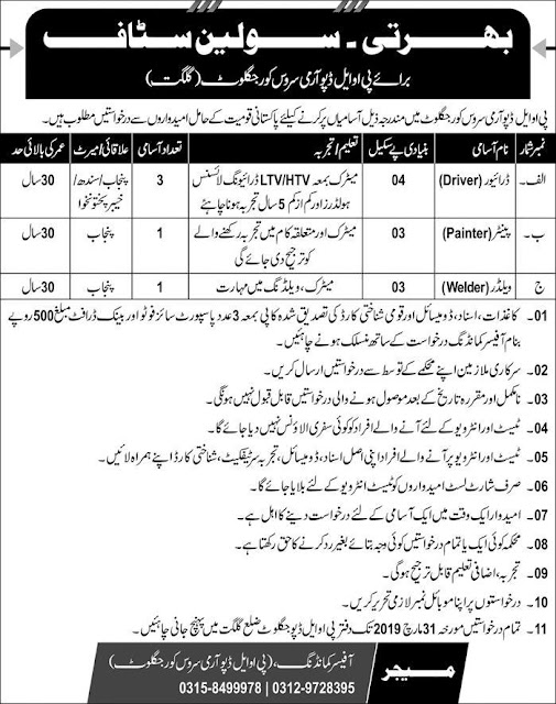 Pak Army Petroleum Oil and Lubricant POL Jobs 2019