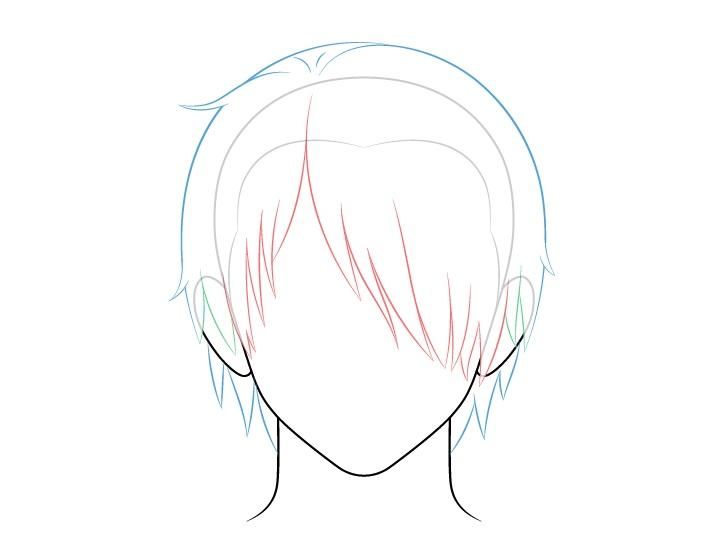 Rambut pria anime di atas satu mata kembali dan gambar atas