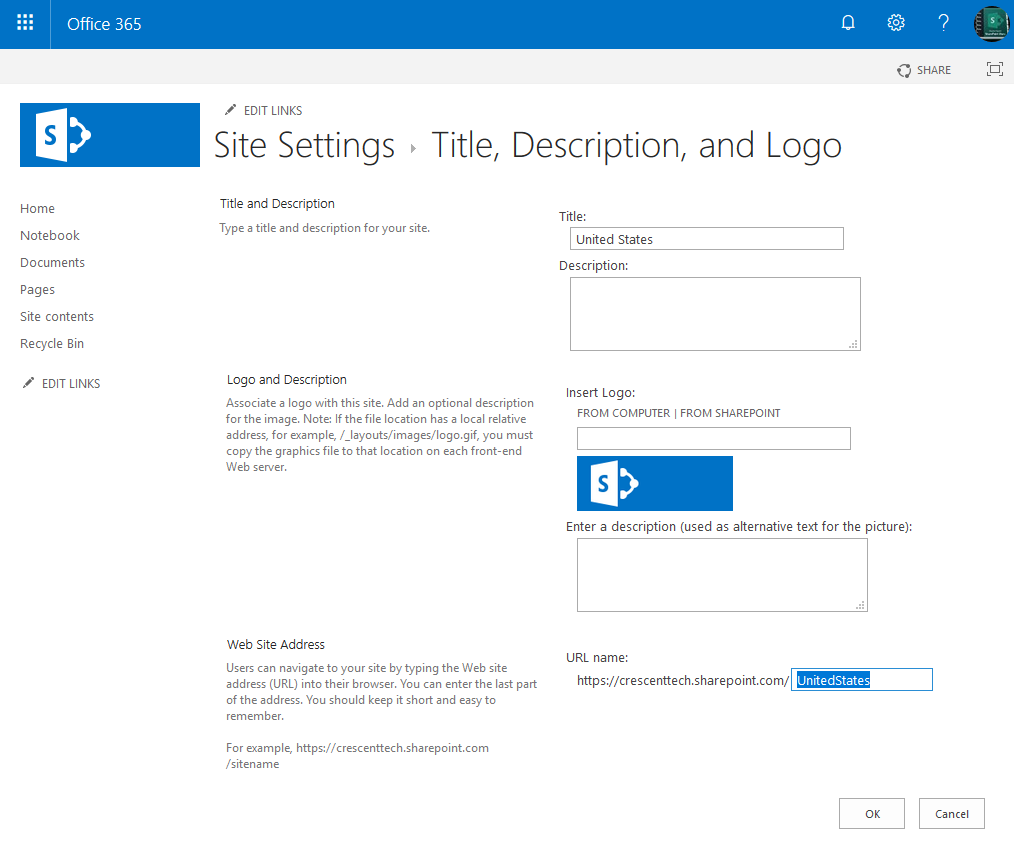 sharepoint online change url of subsite