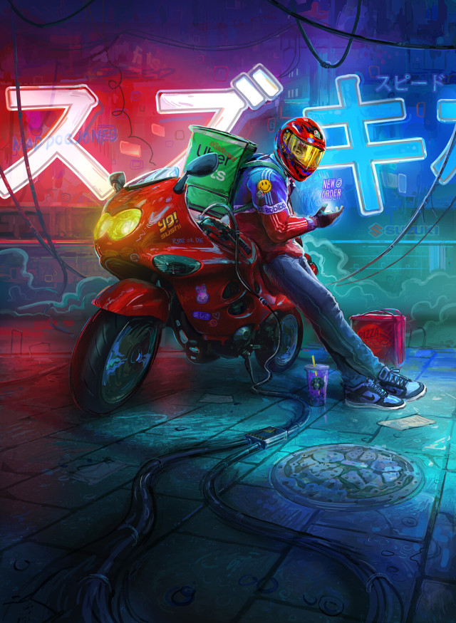 Cyberpunk Food Delivery Illustration by Mad Dog Jones