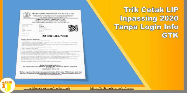 Trik Cetak LIP Inpassing 2020 Tanpa Login Info GTK