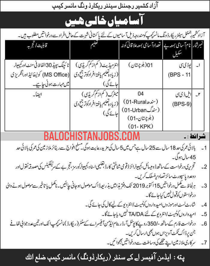 Jobs Azad Kashmir Regimental Centre Record Wing Manshera