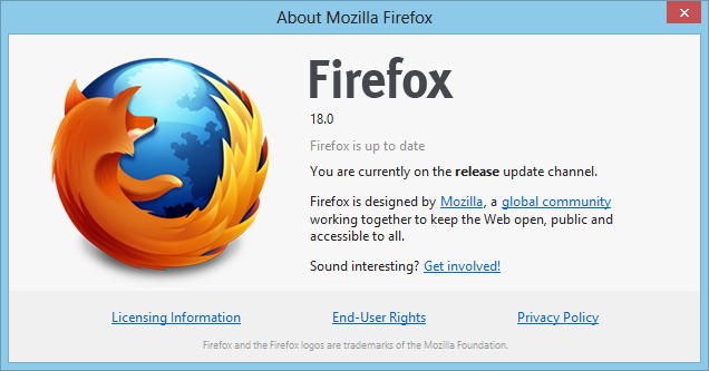 Firefox 18.0 for Windows