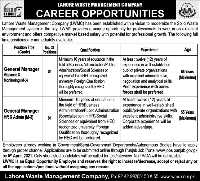 Latest Jobs in Lahore Waste Management Company LWMC - 2021