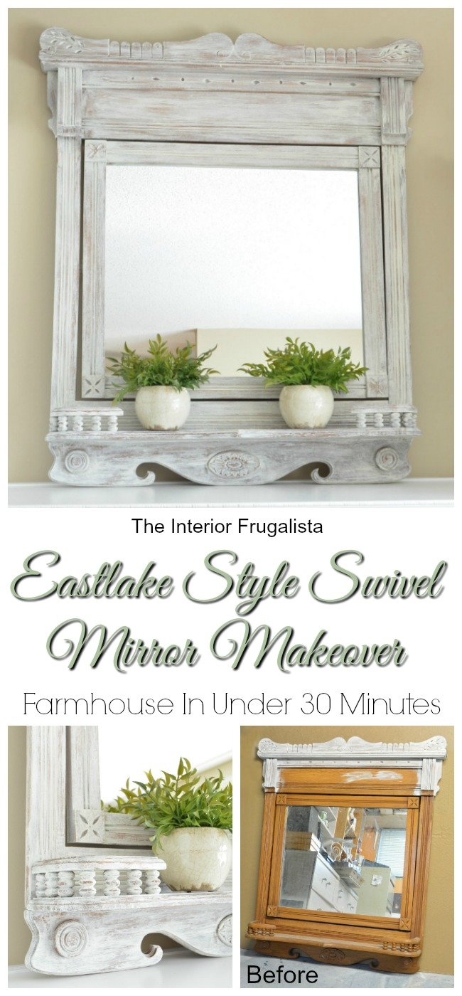 Eastlake Style Swivel Mirror Farmhouse Makeover