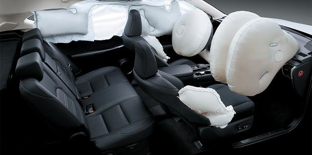 10 túi khí SRS trên NX200t giúp Quý khách an toàn tuyệt đối khi ngồi trên xe
