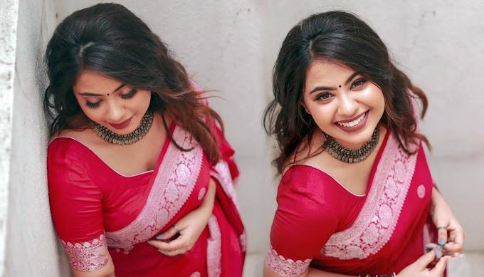 Monica Chinnakotla In Pink Ethnic Saree Photos ✅