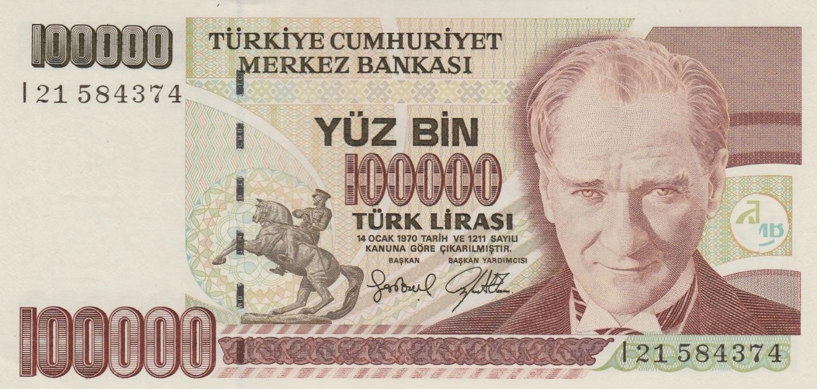 Turkey Banknotes 100000 Turkish Lira note Türk Lirasi 1996 Mustafa Kemal Atatürk