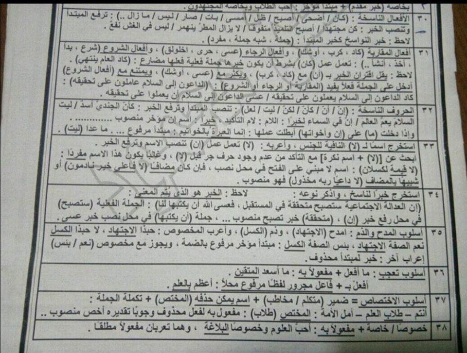 أقوى مراجعات اللغة العربية للصف الثالث الثانوي 30