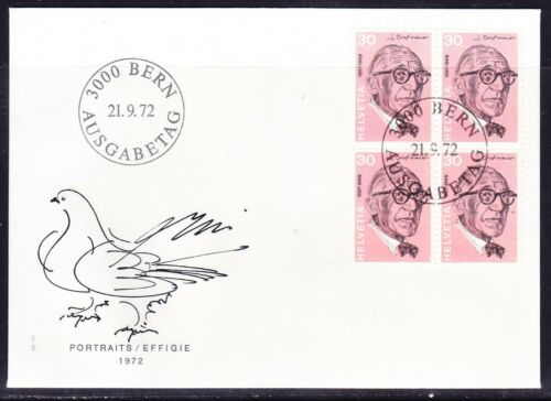 Switzerland 1972 - 30 Le Corbusier Block 4 First Day Cover